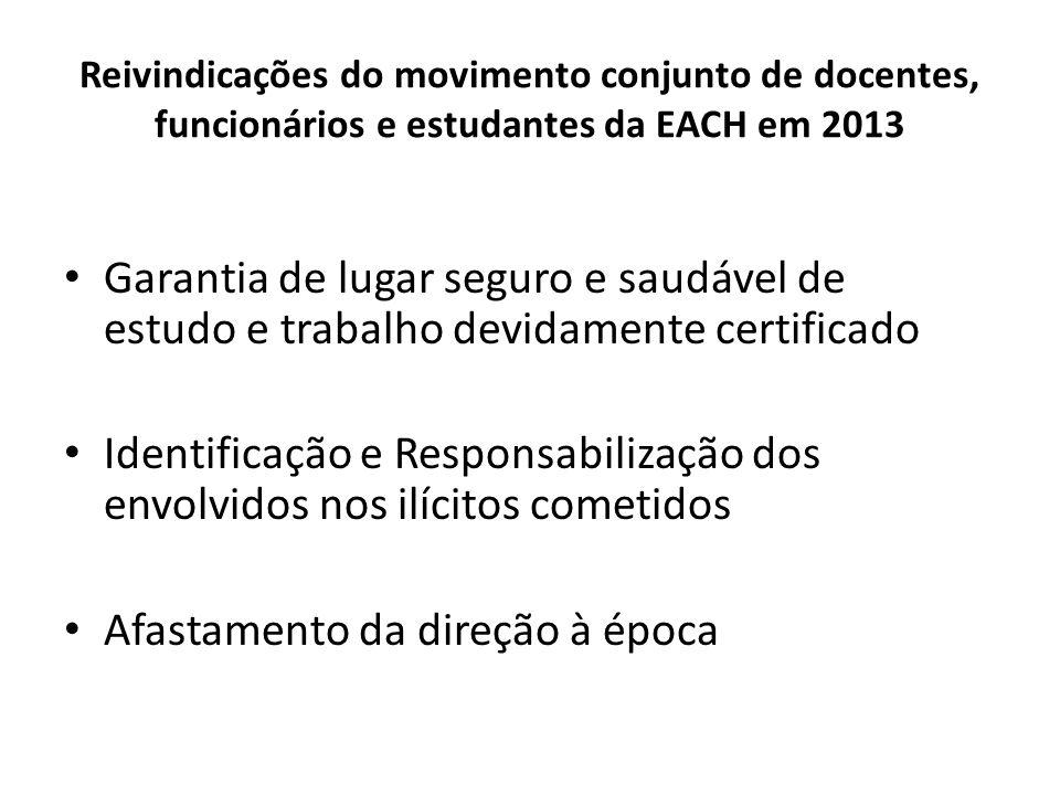 Reivindicações do movimento conjunto de docentes, funcionários e estudantes da EACH em 2013 Garantia de lugar seguro e saudável de estudo e trabalho devidamente certificado Identificação e Responsabilização dos envolvidos nos ilícitos cometidos Afastamento da direção à época