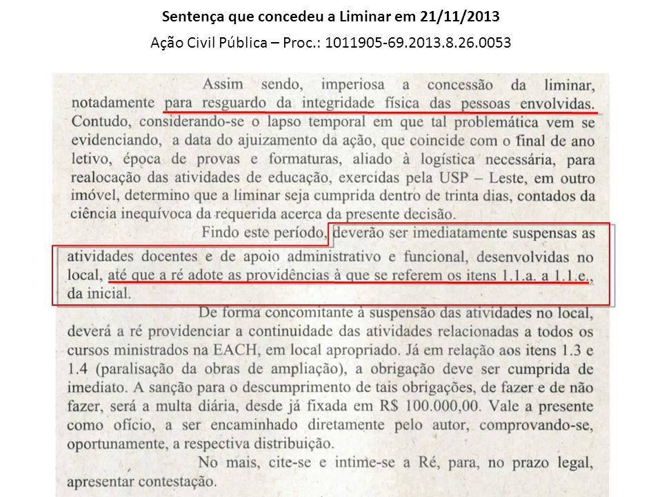 Sentença que concedeu a Liminar em 21/11/2013 Ação Civil Pública – Proc.: 1011905-69.2013.8.26.0053