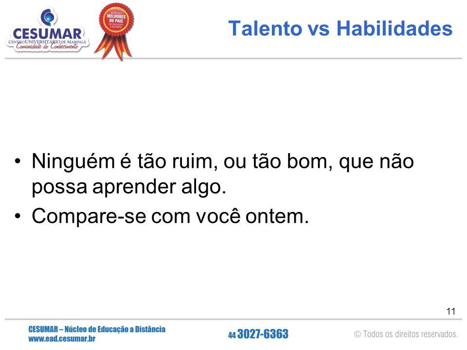11 Talento vs Habilidades Ninguém é tão ruim, ou tão bom, que não possa aprender algo. Compare-se com você ontem.