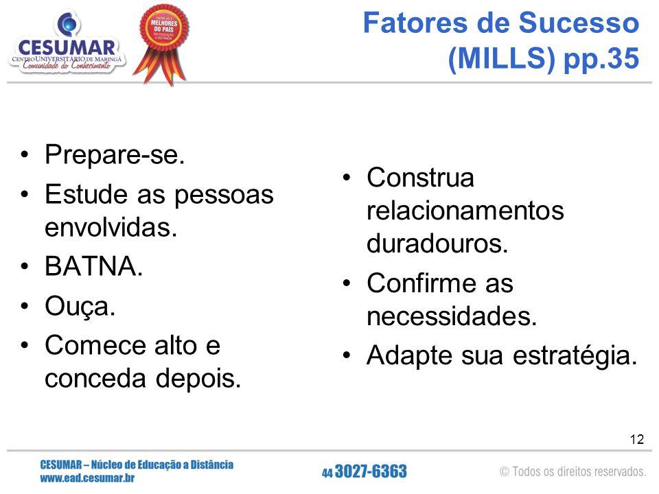 12 Fatores de Sucesso (MILLS) pp.35 Prepare-se. Estude as pessoas envolvidas. BATNA. Ouça. Comece alto e conceda depois. Construa relacionamentos dura
