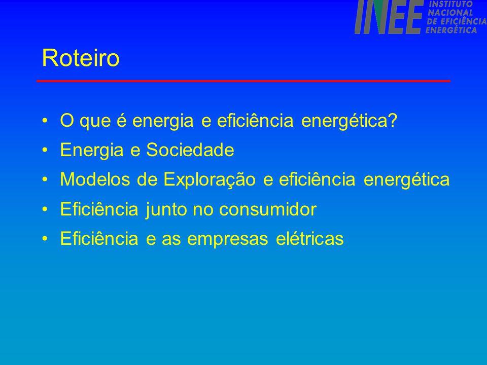 Eficiência no consumo - perspectivas Tendência natural de crescimento da eficiência nos novos equipamentos Preços crescentes  incentivo a crescer eficiência Efeito 2001 não avaliado - parte do consumo pode voltar.