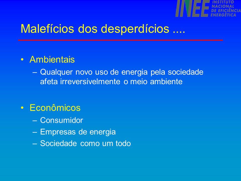 Perdas no consumo - causas Equipamentos eficientes mais caros  difícil avaliar resultado econômico Separação entre quem decide e quem utiliza a energia.