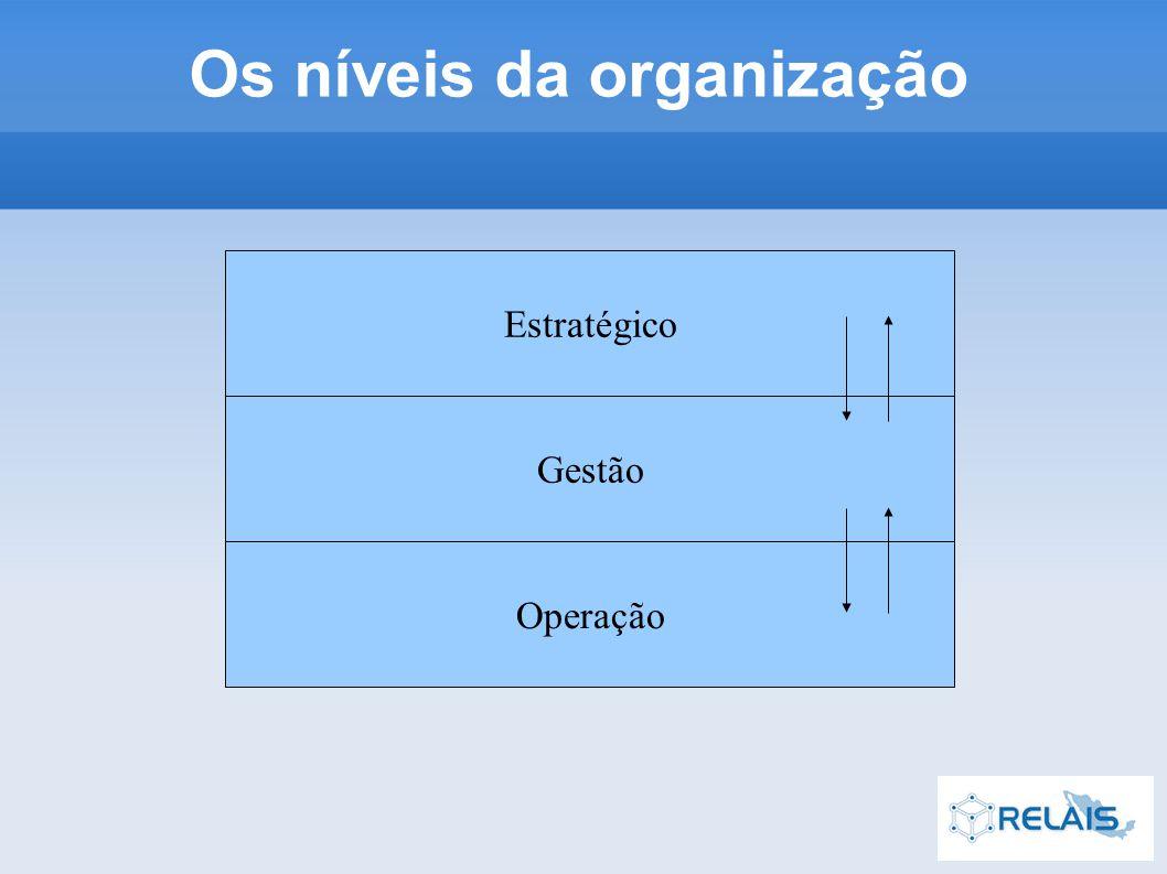 Os níveis da organização Estratégico Gestão Operação