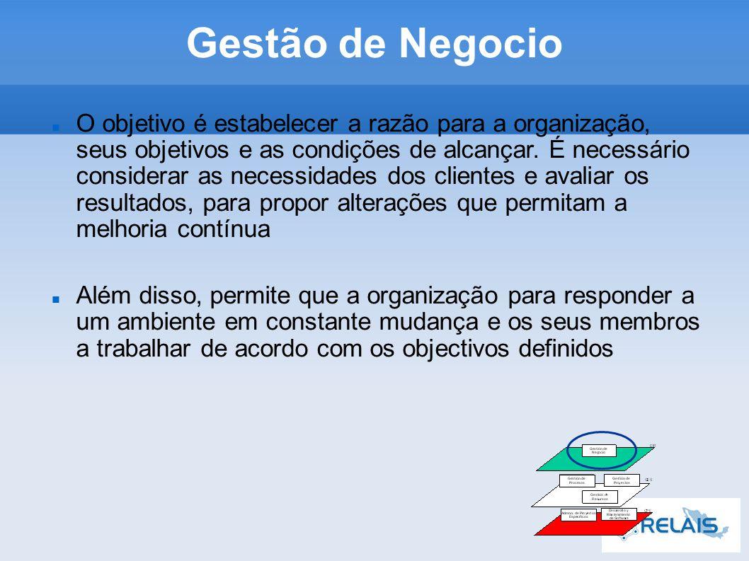 Gestão de Negocio O objetivo é estabelecer a razão para a organização, seus objetivos e as condições de alcançar.