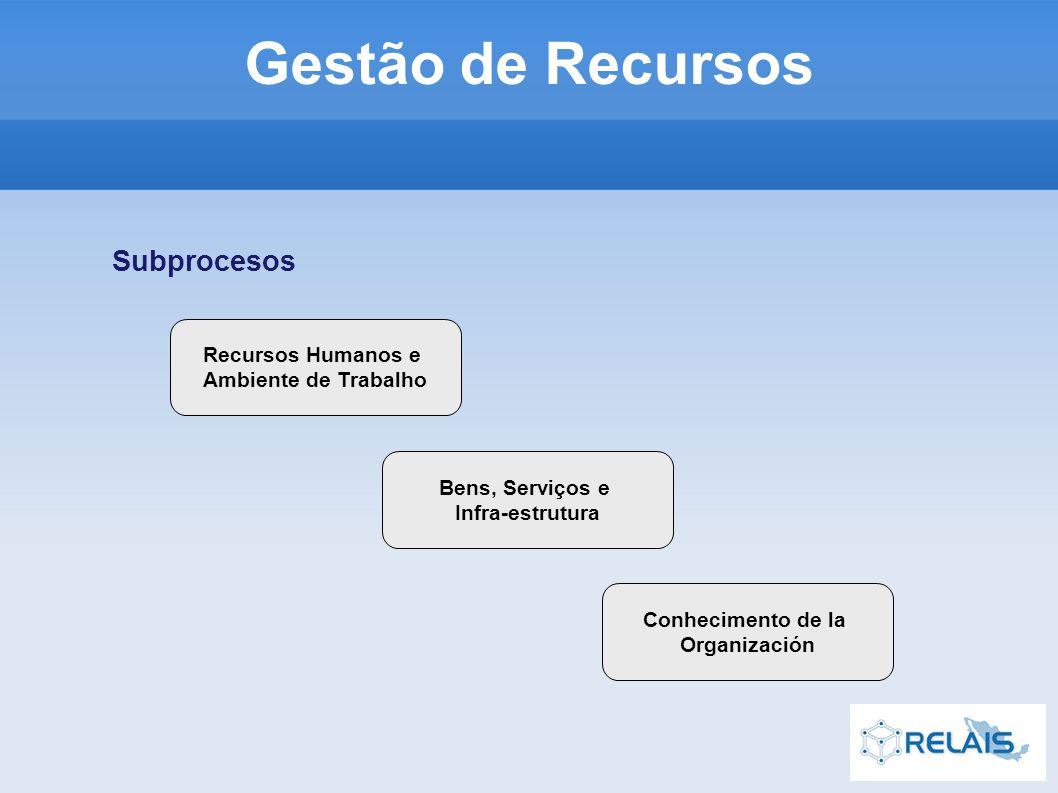 Recursos Humanos e Ambiente de Trabalho Bens, Serviços e Infra-estrutura Conhecimento de la Organización Subprocesos Gestão de Recursos