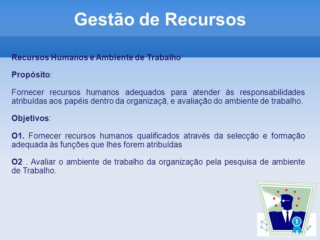 Recursos Humanos e Ambiente de Trabalho Propósito: Fornecer recursos humanos adequados para atender às responsabilidades atribuídas aos papéis dentro da organizaçã, e avaliação do ambiente de trabalho.