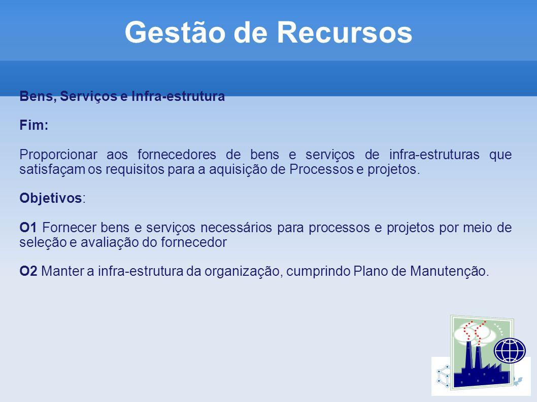 Bens, Serviços e Infra-estrutura Fim: Proporcionar aos fornecedores de bens e serviços de infra-estruturas que satisfaçam os requisitos para a aquisição de Processos e projetos.
