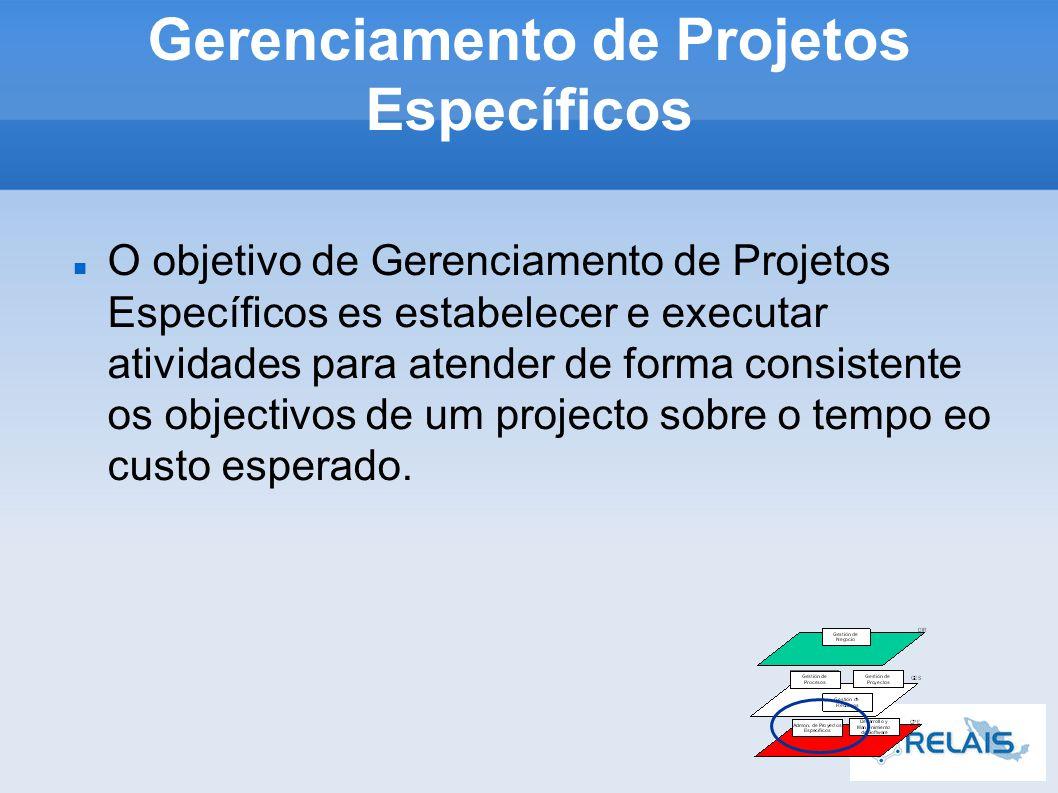 Gerenciamento de Projetos Específicos O objetivo de Gerenciamento de Projetos Específicos es estabelecer e executar atividades para atender de forma consistente os objectivos de um projecto sobre o tempo eo custo esperado.