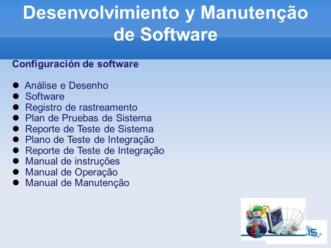 Configuración de software Análise e Desenho Software Registro de rastreamento Plan de Pruebas de Sistema Reporte de Teste de Sistema Plano de Teste de Integração Reporte de Teste de Integração Manual de instruções Manual de Operação Manual de Manutenção Desenvolvimiento y Manutenção de Software