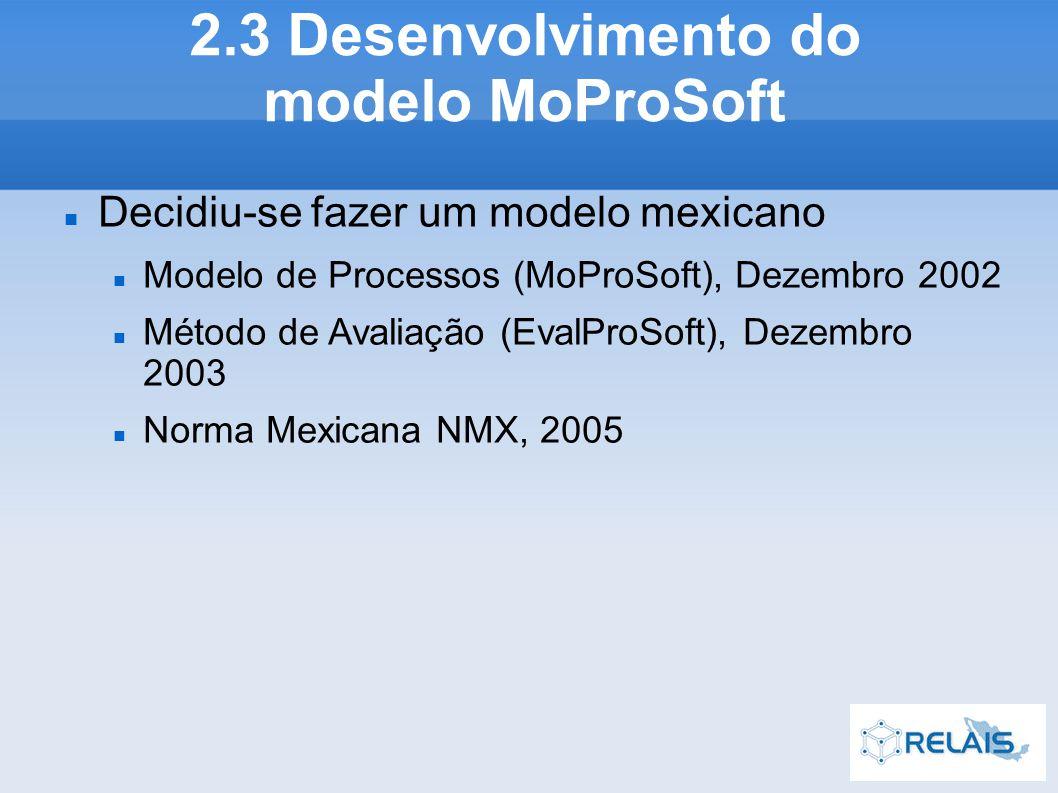 Decidiu-se fazer um modelo mexicano Modelo de Processos (MoProSoft), Dezembro 2002 Método de Avaliação (EvalProSoft), Dezembro 2003 Norma Mexicana NMX, 2005 2.3 Desenvolvimento do modelo MoProSoft