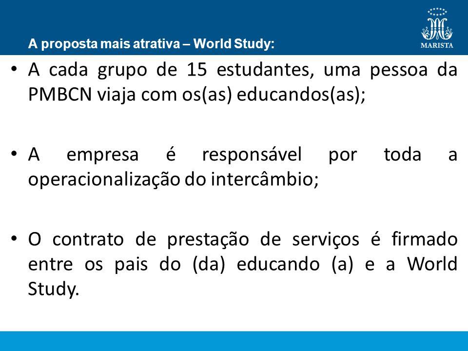 A proposta mais atrativa – World Study: A cada grupo de 15 estudantes, uma pessoa da PMBCN viaja com os(as) educandos(as); A empresa é responsável por