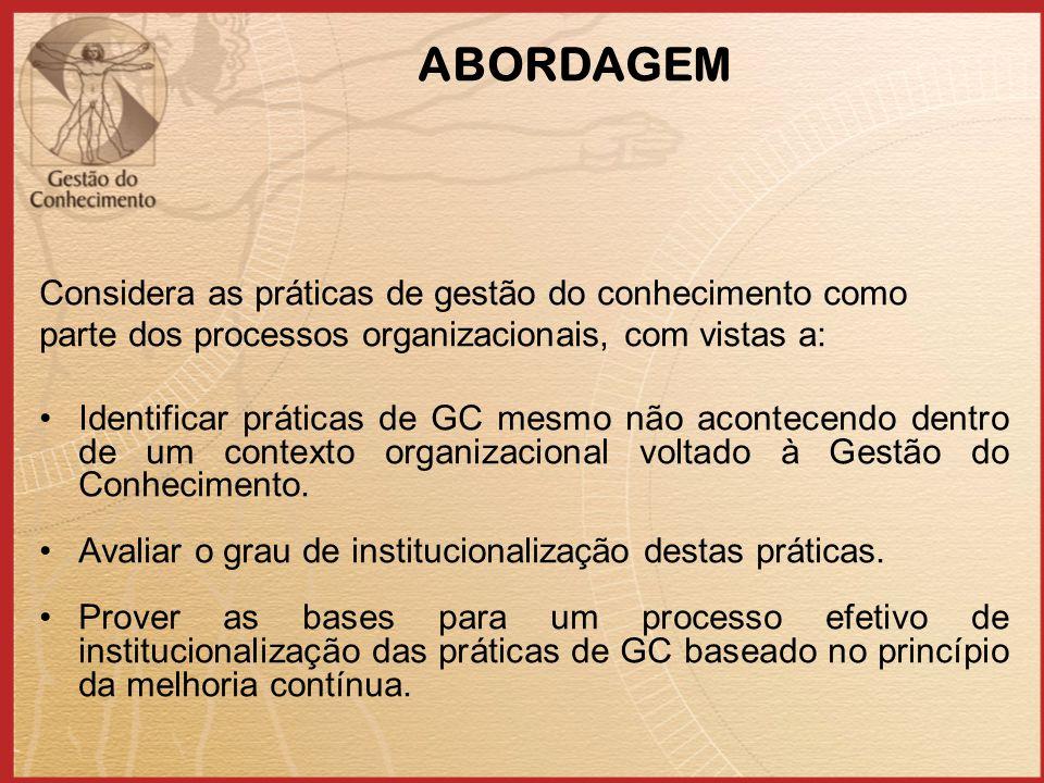 ABORDAGEM Considera as práticas de gestão do conhecimento como parte dos processos organizacionais, com vistas a: Identificar práticas de GC mesmo não acontecendo dentro de um contexto organizacional voltado à Gestão do Conhecimento.