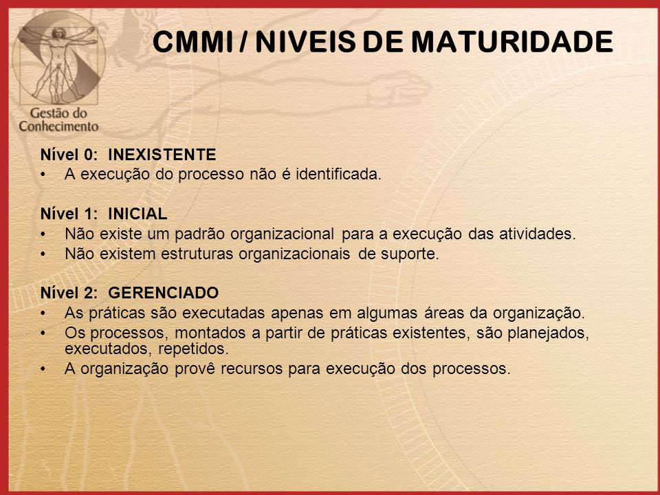 CMMI / NIVEIS DE MATURIDADE Nível 0: INEXISTENTE A execução do processo não é identificada. Nível 1: INICIAL Não existe um padrão organizacional para