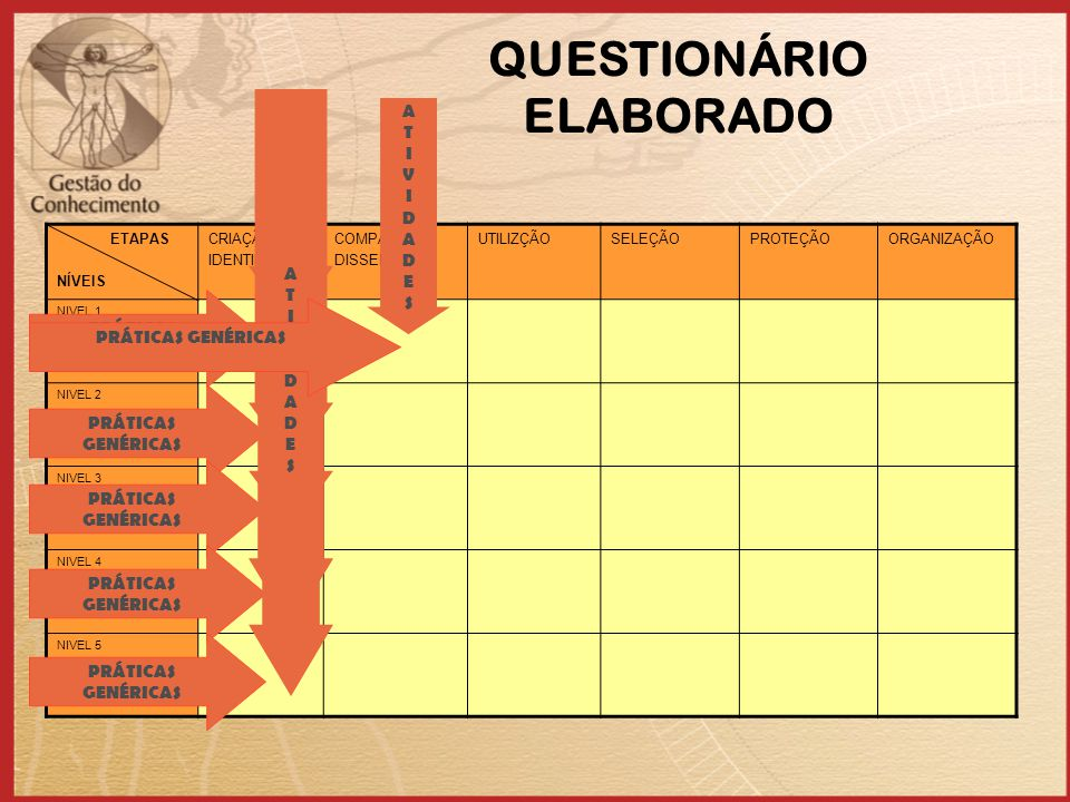 QUESTIONÁRIO ELABORADO ETAPAS NÍVEIS CRIAÇÃO/ IDENTIFICÃO COMPART./ DISSEMIN. UTILIZÇÃOSELEÇÃOPROTEÇÃOORGANIZAÇÃO NIVEL 1 INICIAL NIVEL 2 GERENCIADO N