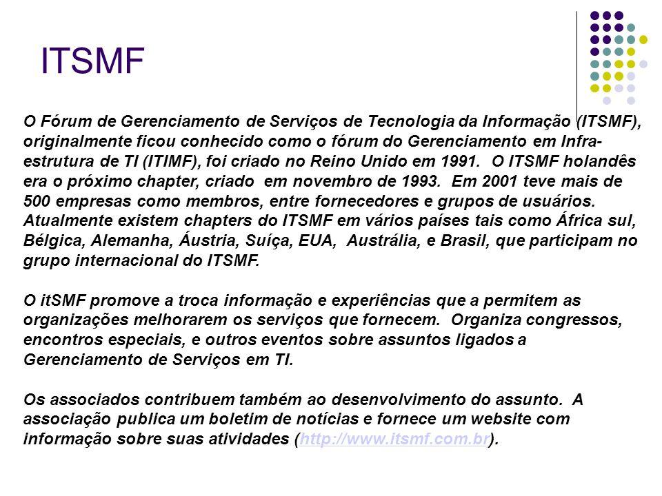 ITSMF O Fórum de Gerenciamento de Serviços de Tecnologia da Informação (ITSMF), originalmente ficou conhecido como o fórum do Gerenciamento em Infra-