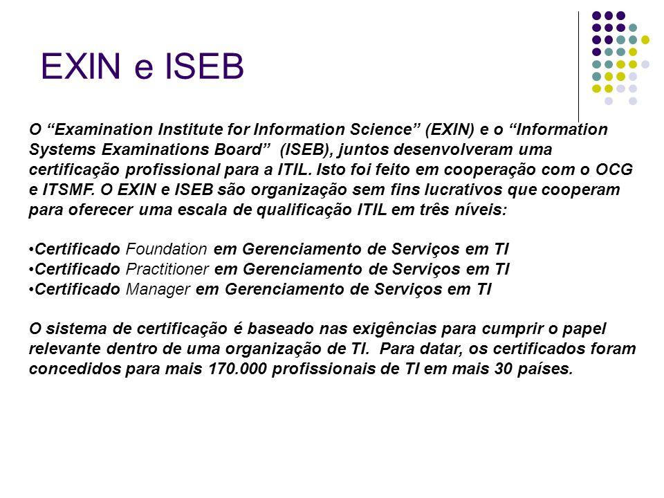 """EXIN e ISEB O """"Examination Institute for Information Science"""" (EXIN) e o """"Information Systems Examinations Board"""" (ISEB), juntos desenvolveram uma cer"""