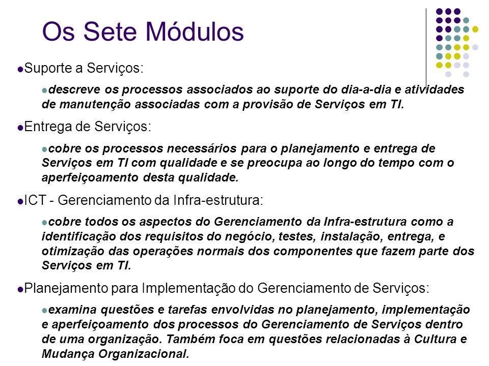 Suporte a Serviços: descreve os processos associados ao suporte do dia-a-dia e atividades de manutenção associadas com a provisão de Serviços em TI. E