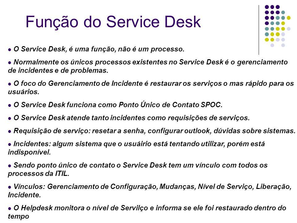 O Service Desk, é uma função, não é um processo. Normalmente os únicos processos existentes no Service Desk é o gerenciamento de incidentes e de probl