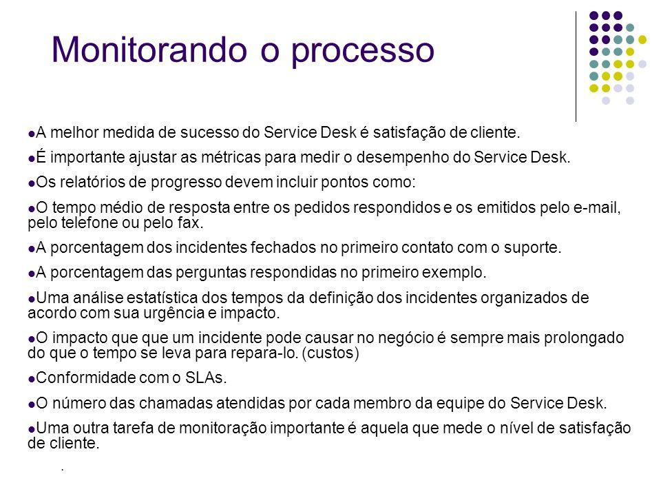 A melhor medida de sucesso do Service Desk é satisfação de cliente. É importante ajustar as métricas para medir o desempenho do Service Desk. Os relat