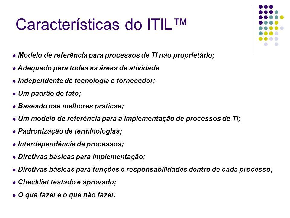 Características do ITIL™ Modelo de referência para processos de TI não proprietário; Adequado para todas as áreas de atividade Independente de tecnolo