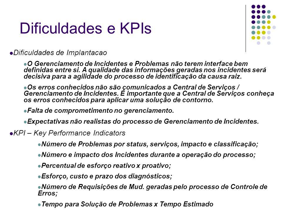 Dificuldades e KPIs Dificuldades de Implantacao O Gerenciamento de Incidentes e Problemas não terem interface bem definidas entre si. A qualidade das
