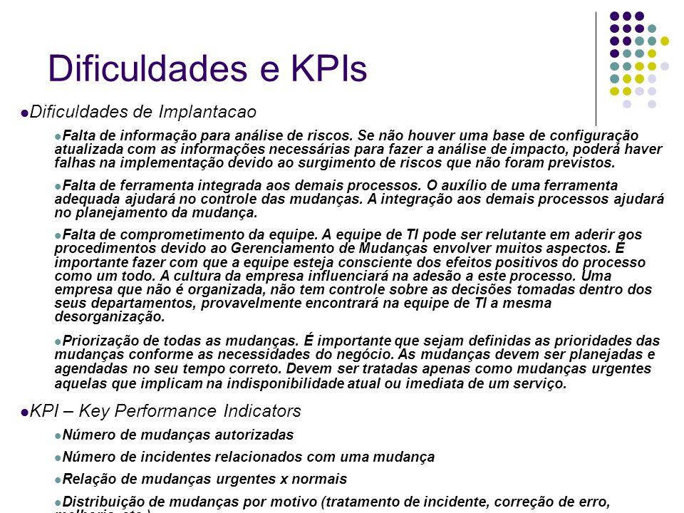 Dificuldades e KPIs Dificuldades de Implantacao Falta de informação para análise de riscos. Se não houver uma base de configuração atualizada com as i