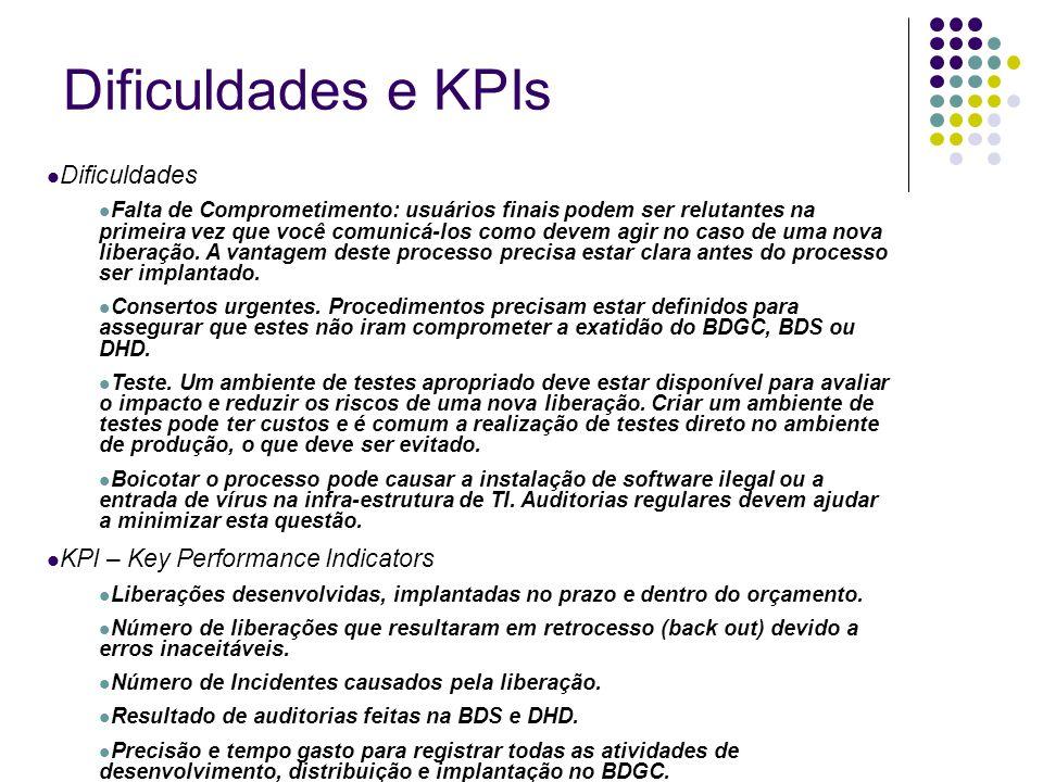Dificuldades e KPIs Dificuldades Falta de Comprometimento: usuários finais podem ser relutantes na primeira vez que você comunicá-los como devem agir