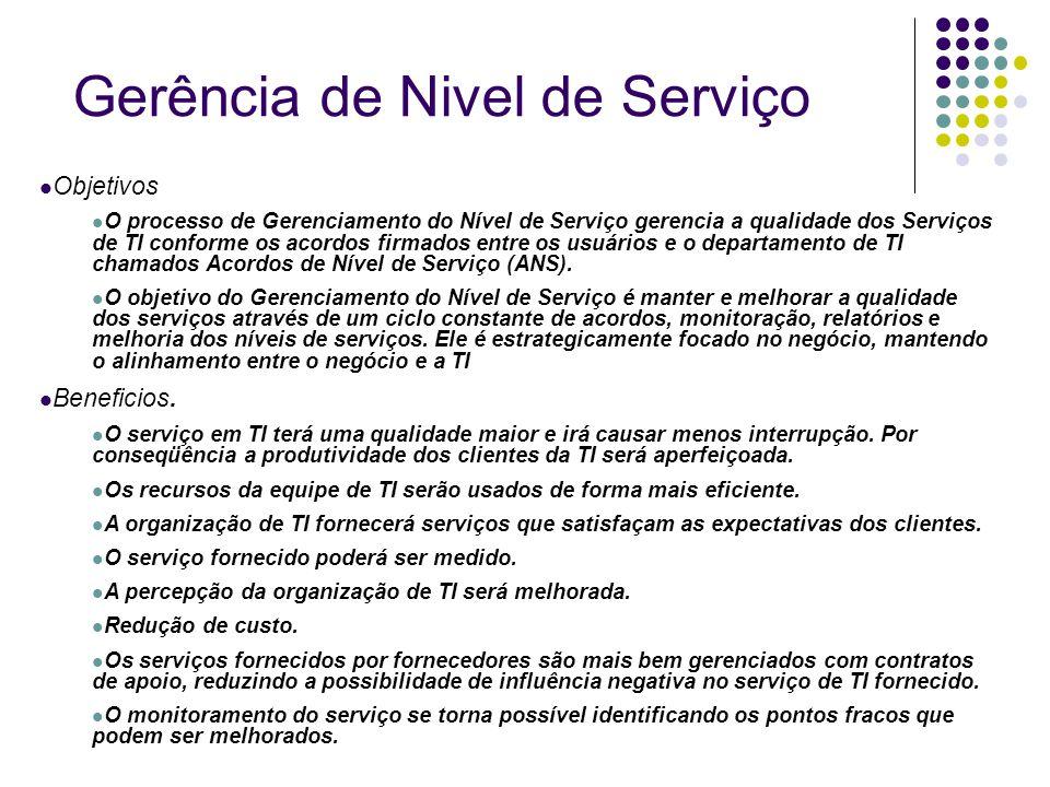 Objetivos O processo de Gerenciamento do Nível de Serviço gerencia a qualidade dos Serviços de TI conforme os acordos firmados entre os usuários e o d