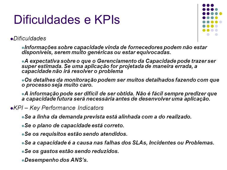 Dificuldades e KPIs Dificuldades Informações sobre capacidade vinda de fornecedores podem não estar disponíveis, serem muito genéricas ou estar equivo