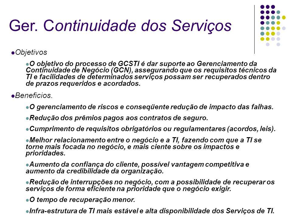 Objetivos O objetivo do processo de GCSTI é dar suporte ao Gerenciamento da Continuidade de Negócio (GCN), assegurando que os requisitos técnicos da T