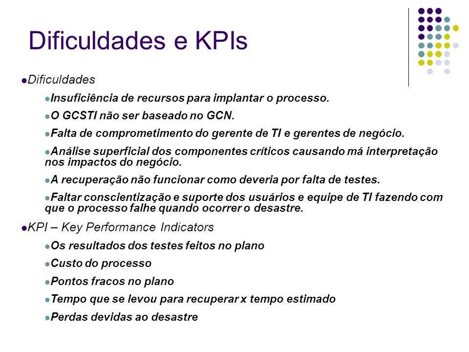 Dificuldades e KPIs Dificuldades Insuficiência de recursos para implantar o processo. O GCSTI não ser baseado no GCN. Falta de comprometimento do gere