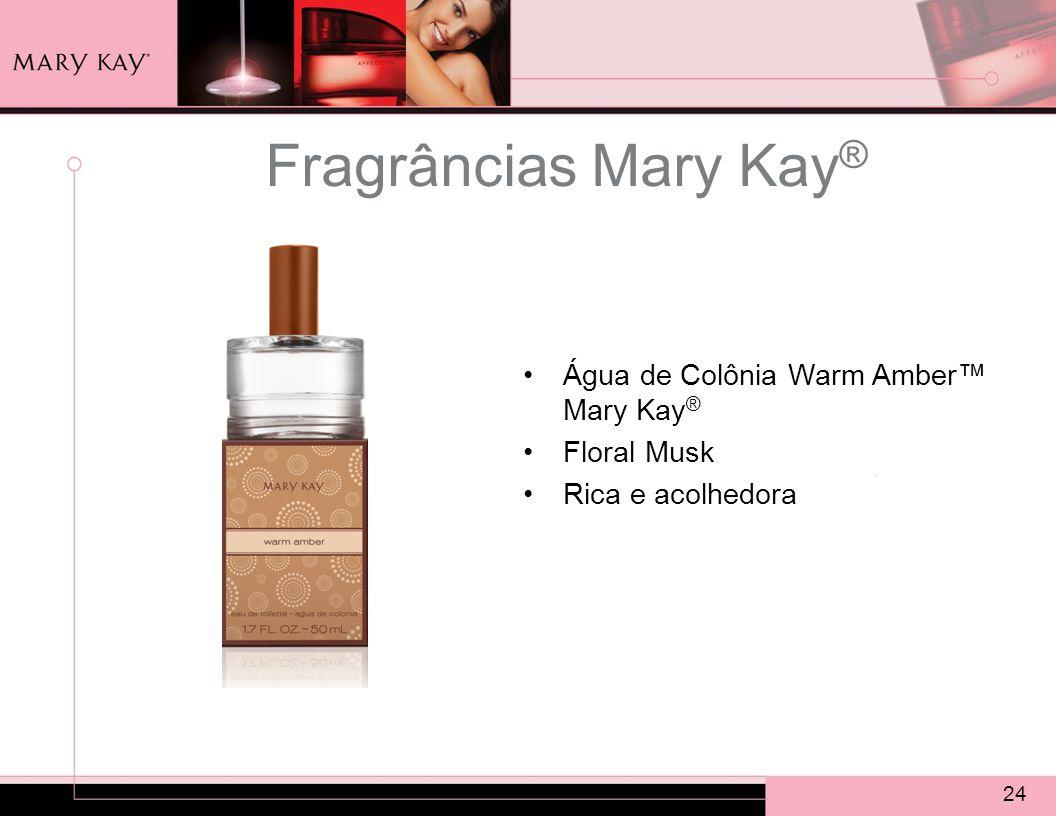 24 Fragrâncias Mary Kay ® Água de Colônia Warm Amber™ Mary Kay ® Floral Musk Rica e acolhedora