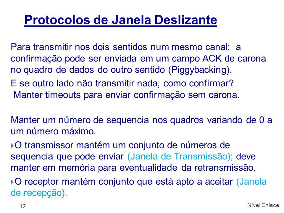 Protocolos de Janela Deslizante Para transmitir nos dois sentidos num mesmo canal: a confirmação pode ser enviada em um campo ACK de carona no quadro de dados do outro sentido (Piggybacking).