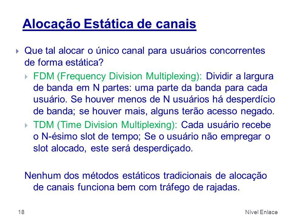 Alocação Estática de canais Nível Enlace18  Que tal alocar o único canal para usuários concorrentes de forma estática?  FDM (Frequency Division Mult