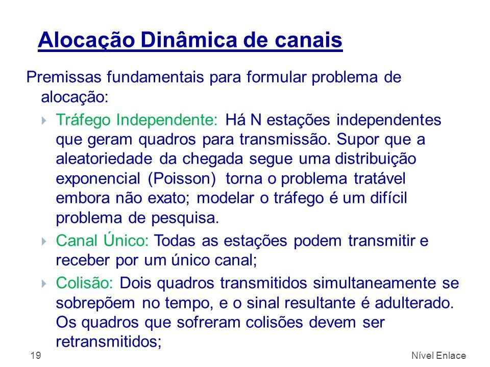 Alocação Dinâmica de canais Nível Enlace19 Premissas fundamentais para formular problema de alocação:  Tráfego Independente: Há N estações independentes que geram quadros para transmissão.