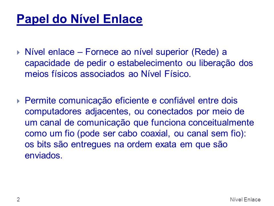 Nível Enlace2  Nível enlace – Fornece ao nível superior (Rede) a capacidade de pedir o estabelecimento ou liberação dos meios físicos associados ao N