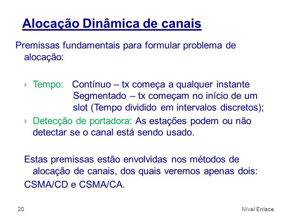 Alocação Dinâmica de canais Nível Enlace20 Premissas fundamentais para formular problema de alocação:  Tempo: Contínuo – tx começa a qualquer instant