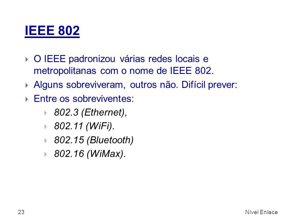 IEEE 802 Nível Enlace23  O IEEE padronizou várias redes locais e metropolitanas com o nome de IEEE 802.  Alguns sobreviveram, outros não. Difícil pr