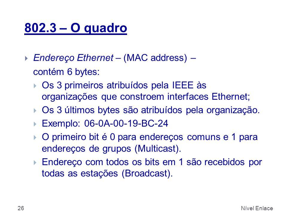 802.3 – O quadro Nível Enlace26  Endereço Ethernet – (MAC address) – contém 6 bytes:  Os 3 primeiros atribuídos pela IEEE às organizações que constroem interfaces Ethernet;  Os 3 últimos bytes são atribuídos pela organização.