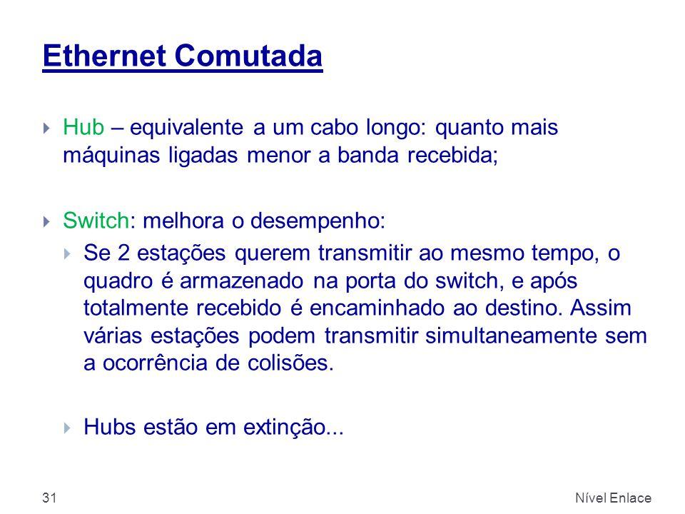 Ethernet Comutada Nível Enlace31  Hub – equivalente a um cabo longo: quanto mais máquinas ligadas menor a banda recebida;  Switch: melhora o desempe