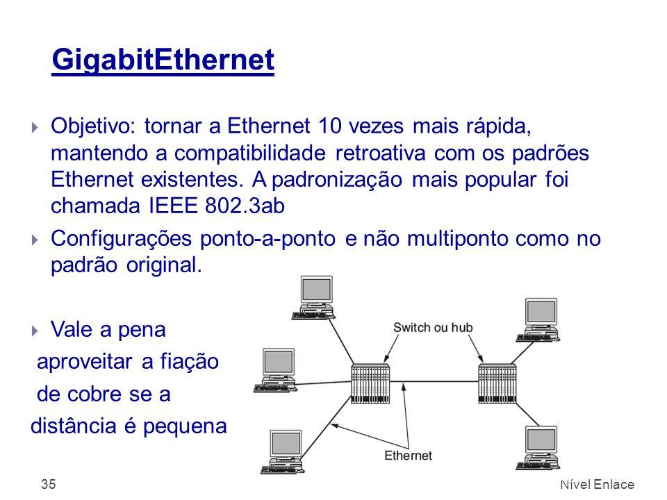 GigabitEthernet Nível Enlace35  Objetivo: tornar a Ethernet 10 vezes mais rápida, mantendo a compatibilidade retroativa com os padrões Ethernet existentes.