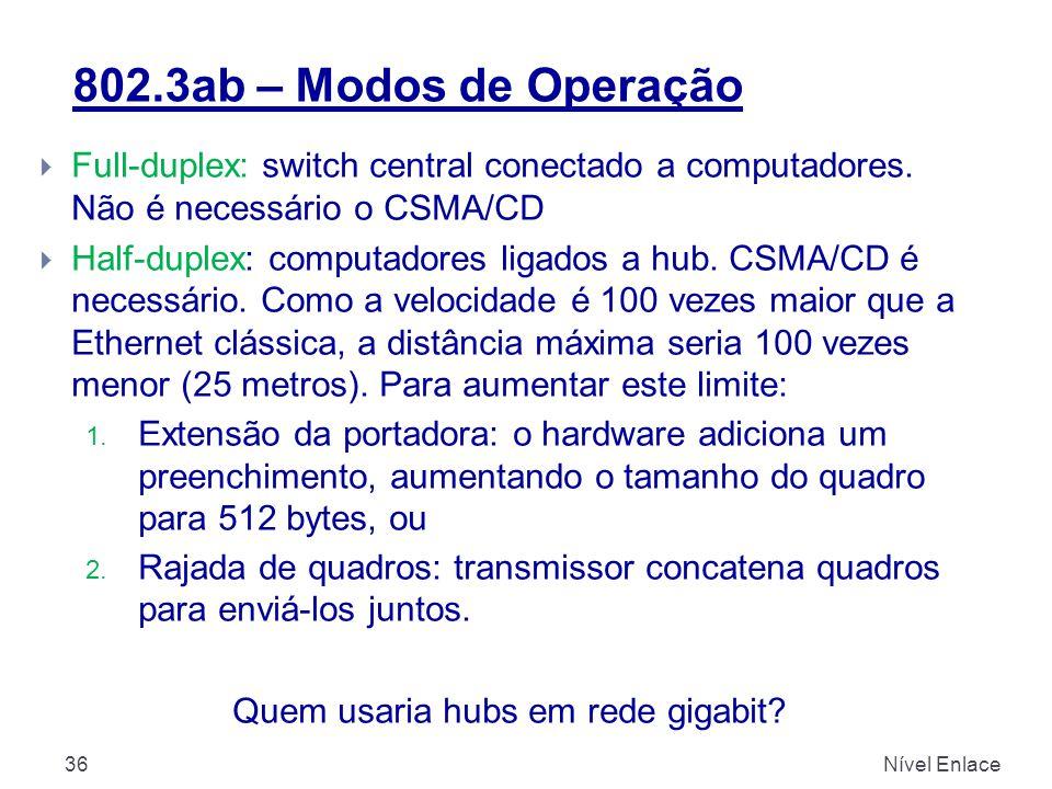 802.3ab – Modos de Operação Nível Enlace36  Full-duplex: switch central conectado a computadores. Não é necessário o CSMA/CD  Half-duplex: computado
