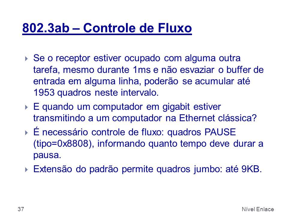 802.3ab – Controle de Fluxo Nível Enlace37  Se o receptor estiver ocupado com alguma outra tarefa, mesmo durante 1ms e não esvaziar o buffer de entrada em alguma linha, poderão se acumular até 1953 quadros neste intervalo.