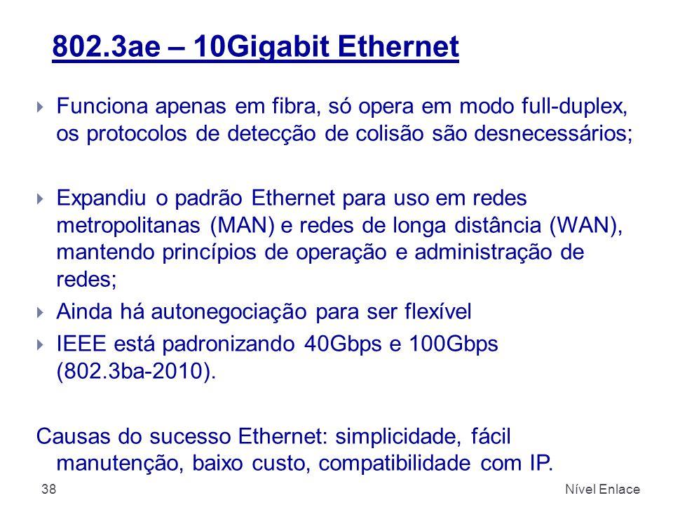 802.3ae – 10Gigabit Ethernet Nível Enlace38  Funciona apenas em fibra, só opera em modo full-duplex, os protocolos de detecção de colisão são desnecessários;  Expandiu o padrão Ethernet para uso em redes metropolitanas (MAN) e redes de longa distância (WAN), mantendo princípios de operação e administração de redes;  Ainda há autonegociação para ser flexível  IEEE está padronizando 40Gbps e 100Gbps (802.3ba-2010).