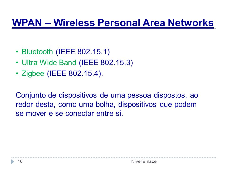 WPAN – Wireless Personal Area Networks Nível Enlace46 Bluetooth (IEEE 802.15.1) Ultra Wide Band (IEEE 802.15.3) Zigbee (IEEE 802.15.4). Conjunto de di