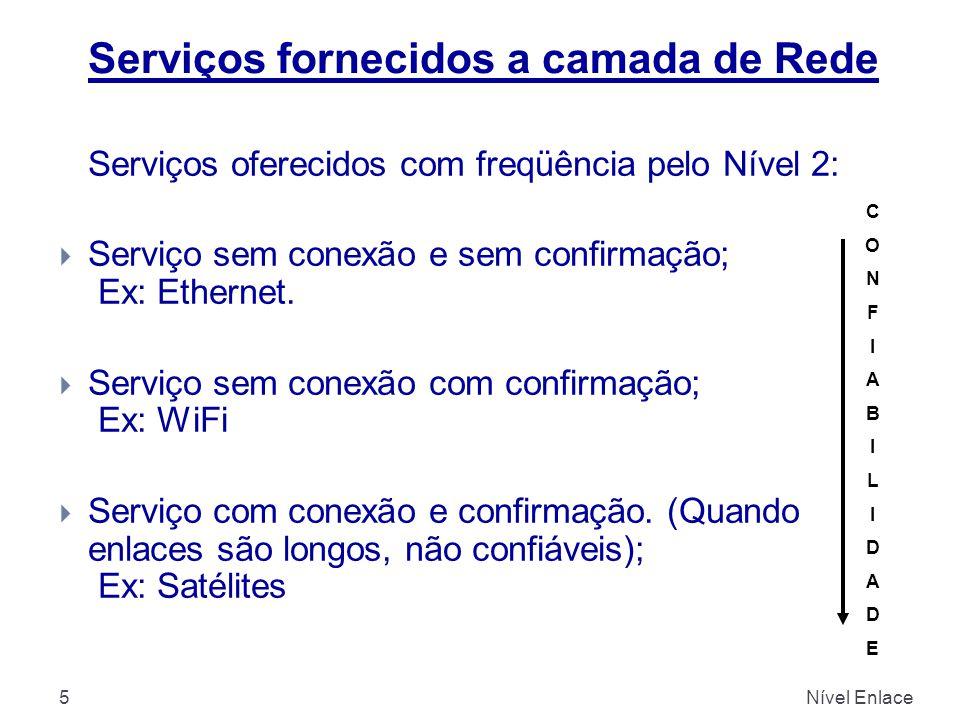5 Serviços oferecidos com freqüência pelo Nível 2:  Serviço sem conexão e sem confirmação; Ex: Ethernet.  Serviço sem conexão com confirmação; Ex: W