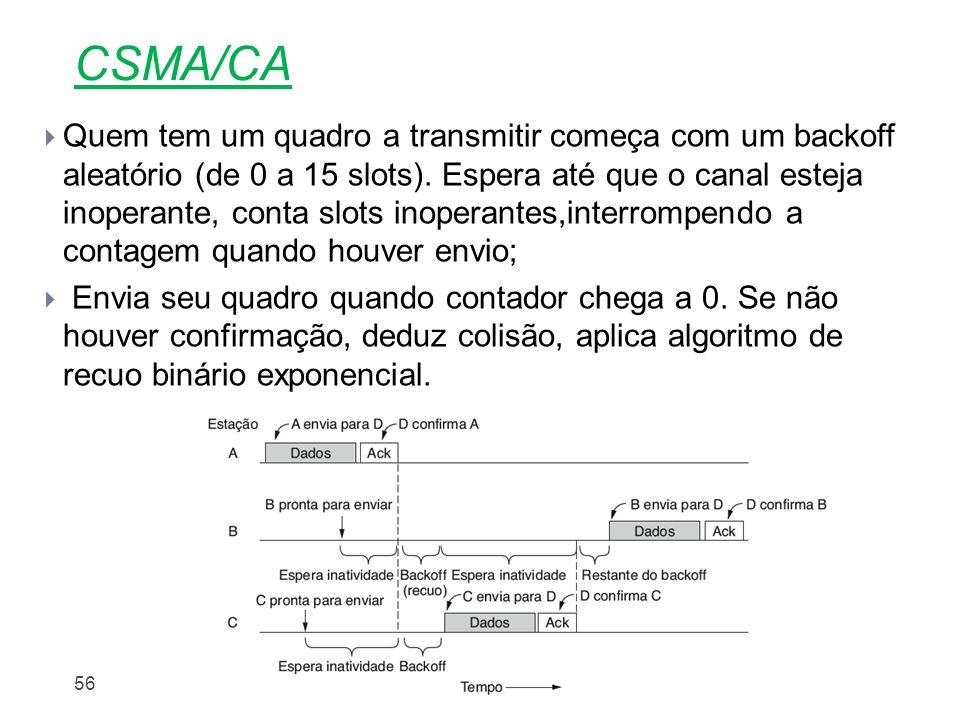 Nível Enlace56 CSMA/CA  Quem tem um quadro a transmitir começa com um backoff aleatório (de 0 a 15 slots). Espera até que o canal esteja inoperante,