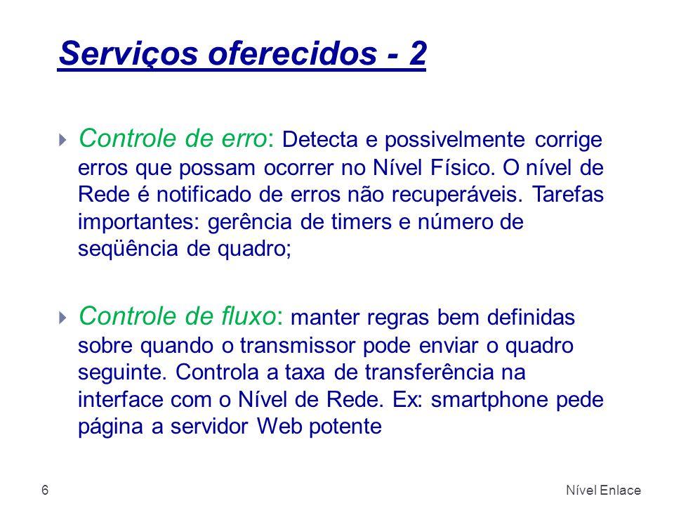 Serviços oferecidos - 2 Nível Enlace6  Controle de erro: Detecta e possivelmente corrige erros que possam ocorrer no Nível Físico.