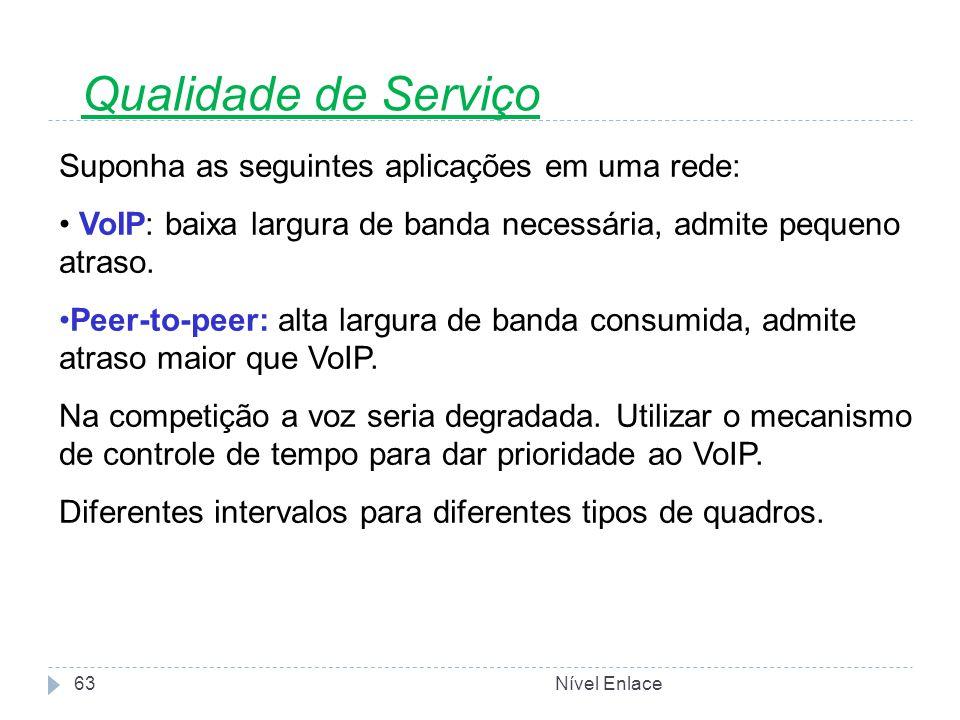 Nível Enlace63 Suponha as seguintes aplicações em uma rede: VoIP: baixa largura de banda necessária, admite pequeno atraso.