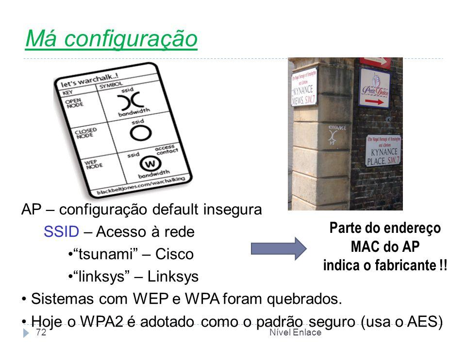 Nível Enlace72 Má configuração AP – configuração default insegura SSID – Acesso à rede tsunami – Cisco linksys – Linksys Sistemas com WEP e WPA foram quebrados.